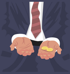 fired employee outstretched hands for begging vector image