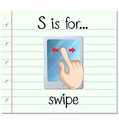Flashcard letter S is for swipe vector