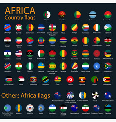 Flat round flags africa on black background vector