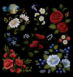 floral embroidery folk fashion pattern vector image vector image