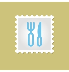 Fork and Knife stamp vector image