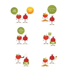Funny apple pomegranate on a card for rosh vector
