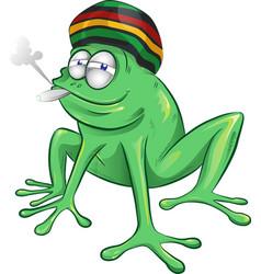 Funny jamaican frog cartoon vector