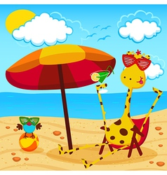 giraffe and a bird on the beach vector image