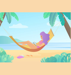 girl in swimsuit in hammock between palm trees vector image