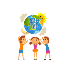 Green planet and cute happy kids save the planet vector