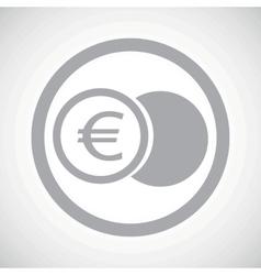 Grey euro coin sign icon vector image