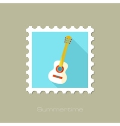 Guitar Beach flat stamp with long shadow vector