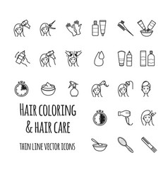 Hair coloring icons set vector