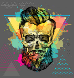 Hand drawing hipster skull vector