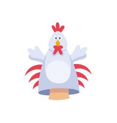 Hands rooster or chicken character fabric puppet vector