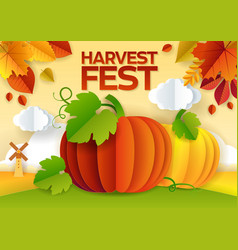 Harvest fest paper cut poster banner vector