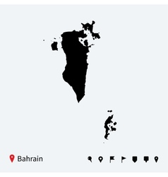 High detailed map of Bahrain with navigation pins vector