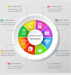 Infographic design template with coffee shop icons vector