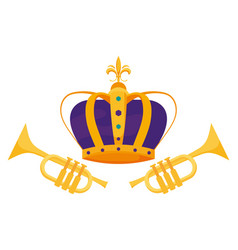 Isolated royal crown and trumpets design vector