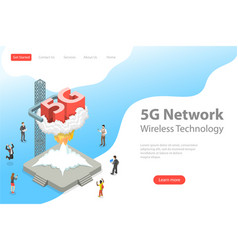 Isometric flat landing page template of 5g vector