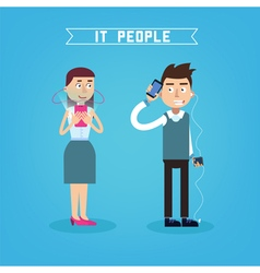 IT People Man with Phone Woman with Smart Phone vector image