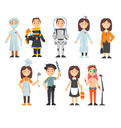 Kids various professions set doctor vector