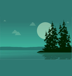 lake scenery with spruce silhouette collection vector image