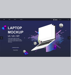 Laptop rotated position mockup and website design vector