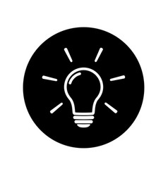 light bulb icon on black background vector image