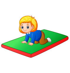 Little girl crawling on the mat vector