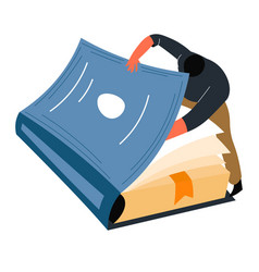 Male character peeking book pages reader vector