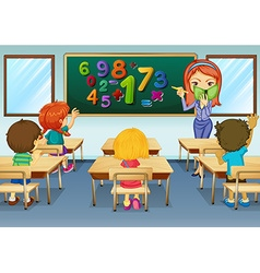 Math teacher teaching in classroom vector