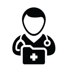 medical record icon with male doctor person vector image