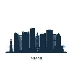 Miami skyline monochrome silhouette vector