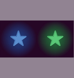 Neon icon of blue and green star vector