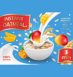 oatmeal advertising with mango and milk vector image