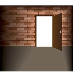 Open door in brick wall vector