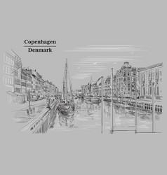 Pier in copenhagen grey vector