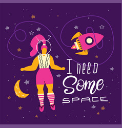 plus size woman in space body positivity humor vector image