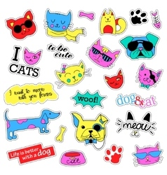 Pop art set with fashion patch badges Cats and vector image