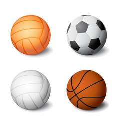 realistic sports balls set icon isolated on white vector image