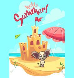 Sand castle with cartoon dog vector