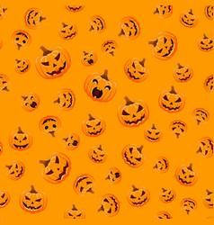 Seamless halloween pattern with pumpkins on black vector