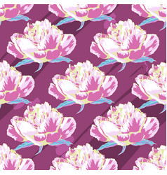 seamless pattern of flowers peonies on a violet vector image