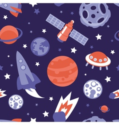 seamless pattern with planets and stars vector image