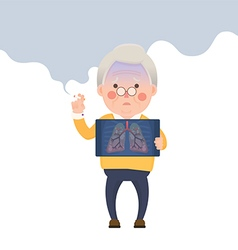 Senior Man Smoking Lung Problem vector
