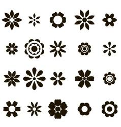 set black flat flower icons vector image