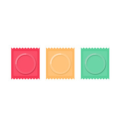 set color condom packed isolated contraceptive on vector image