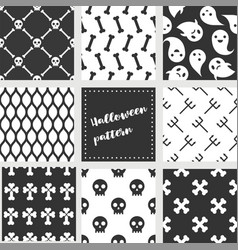 set halloween seamless pattern flat design vector image