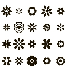Set of black flat flower icons vector