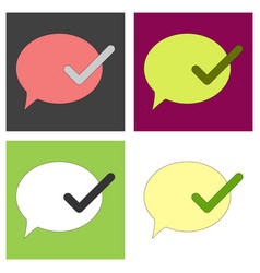 Set of flat check message flat icon vector