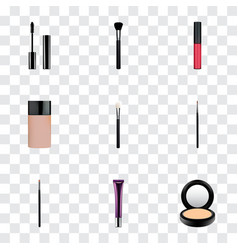 set of maquillage realistic symbols with collagen vector image