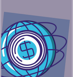 sphere planet with coin vector image