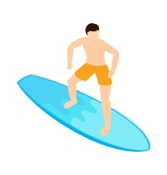 Surfing icon isometric 3d style vector image